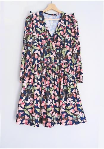 Dámske voľné šaty s farebnými motýľmi a s dlhým rukávom