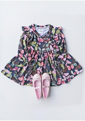 Dievčenské šaty s farebnými motýľmi a s dlhým rukávom