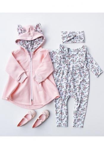 Bavlnená detská mikina/plášť s kapucňou v ružovej farbe
