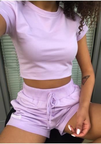 Krátky bavlnený dámsky top vo fialovej farbe