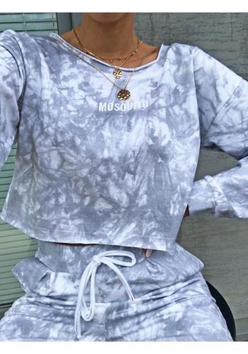 Skrátená dámska sivá mikina s mramorovým efektom