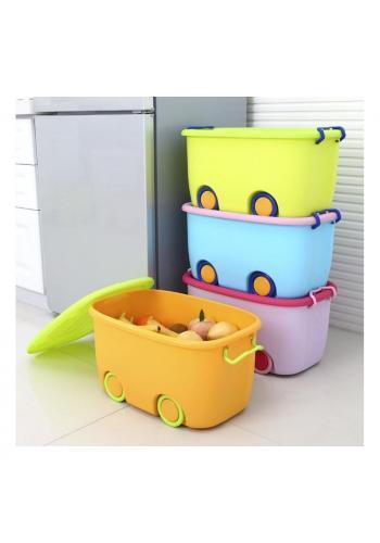 Box na hračky s kolieskami v oranžovo-zelenej farbe
