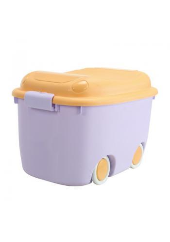 Fialovo-oranžový organizér na hračky s kolieskami