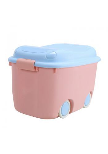 Organizér na hračky s kolieskami v ružovo-modrej farbe