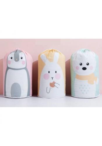 Ružovo-sivý kôš na hračky s motívom tučniaka