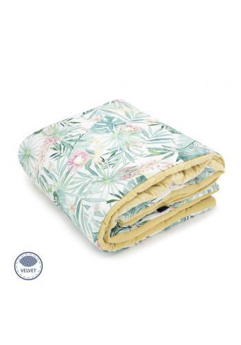 Žltá zamatová teplá deka pre deti s tropickým motívom