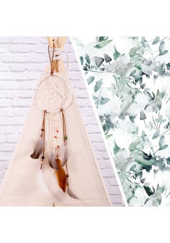 Teepee - v bielej farbe s potlačou šalvie zelenej