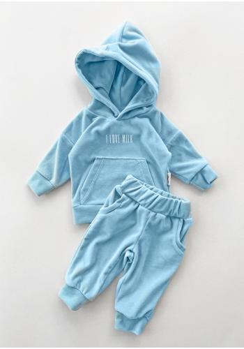 Štýlový velúrový komplet nohavíc a mikiny v modrej farbe