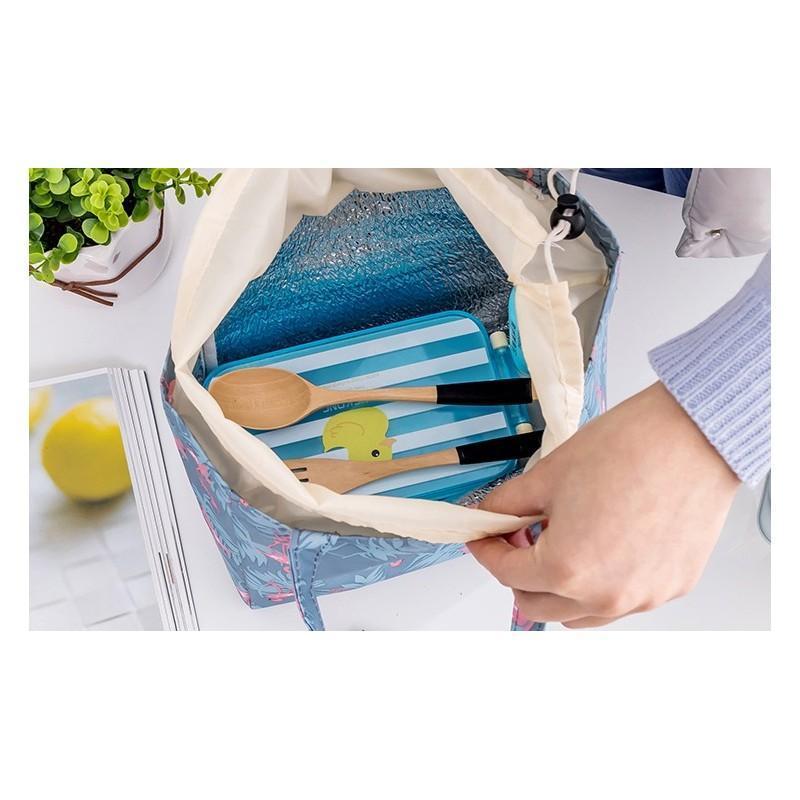 Termotaška modrej farby na prepravu potravín s motívom plameniakov