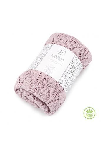 Ružová pletená deka s ažúrovým vzorom pre deti