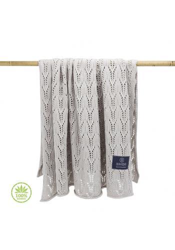 Béžová pletená deka s ažúrovým vzorom pre deti