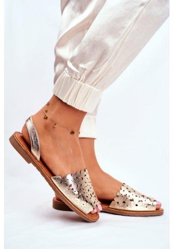 Zlaté dámske elegantné sandále s motívom kvetov