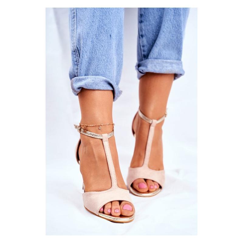 Dámske semišové sandále na tenkom podpätku v béžovej farbe