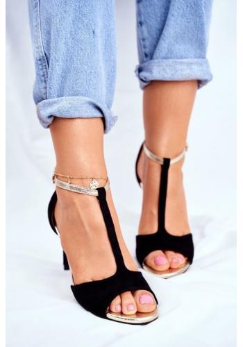 Čierne dámske semišové sandále na tenkom podpätku