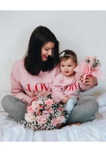 Zostava mikín pre mamu a dieťa s červeným nápisom LOVE v bielej farbe
