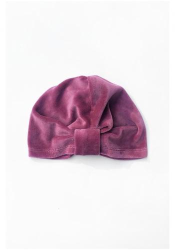 Fialová velúrová čiapka pre dievčatá - turban