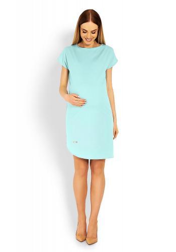 Tehotenské asymetrické šaty s krátkym rukávom v ružovej farbe