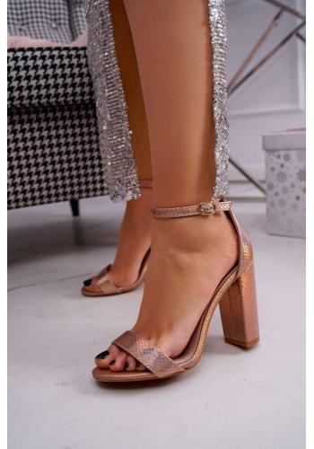 Ružovo-zlaté dúhové sandále na stabilnom podpätku pre dámy