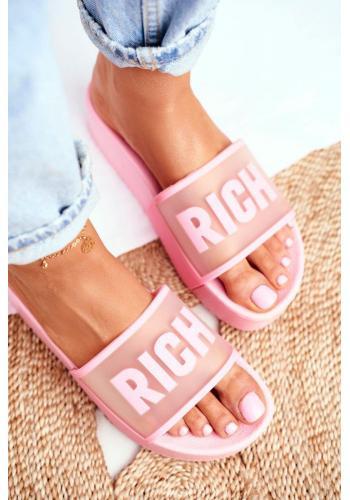Dámske gumené šľapky na platforme v ružovej farbe