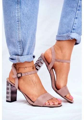 Štýlove dámske púdrove sandále s metalickým podpätkom