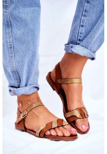 Štýlové hnedé sandále so zlatým zdobením pre dámy