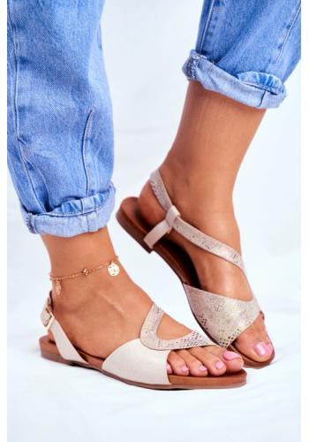 Asymetrické béžové dámske sandále s lesklým zdobením