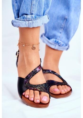 Čierne asymetrické sandále s lesklým zdobením