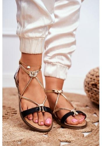 Dámske sandále čiernej farby so zlatými remienkami