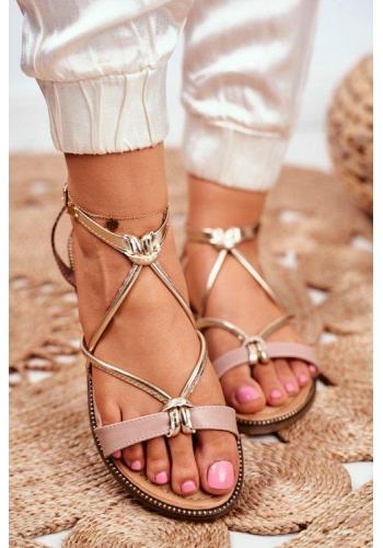 Dámske béžové sandále v kombinácii so zlatým a hadím remienkom