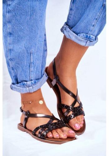 Metalické sandále pre dámy v kombinácii s tigrovaným vzorom