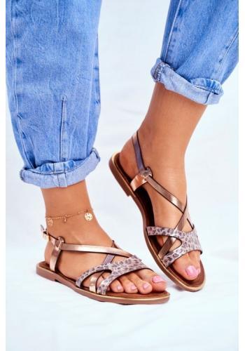 Dámske zlaté sandále pre dámy v kombinácii s tigrovaným vzorom