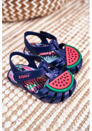 Detské modré sandále na suchý zips s melónom