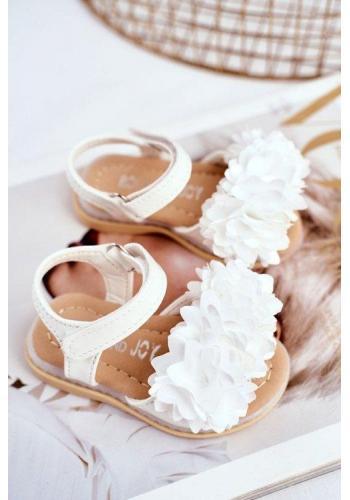 Biele svietiace detské sandálky zdobené kvetmi