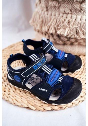 Chlapčenské tmavomodré sandále Big Star na suchý zips