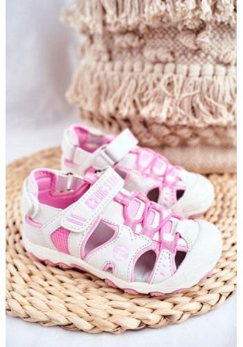 Ružovo-biele dievčenské sandále Big Star na suchý zips