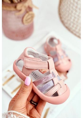 Detské ružové sandále na suchý zips s metalickým zdobením