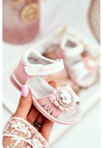 Ružové sandálky s kvetom na suchý zips pre dievčatká