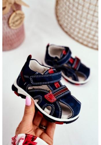 Tmavomodré sandále na suchý zips pre deti