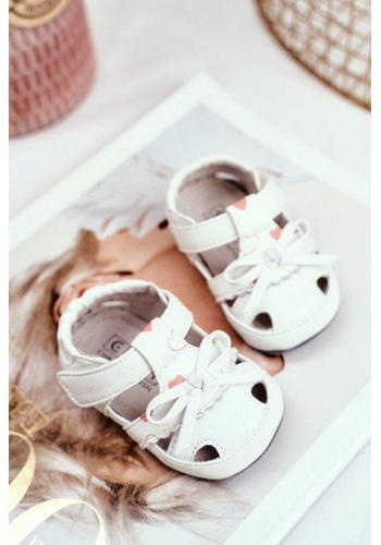 Detské sandálky na suchý zips bielej farby pre dievčatká
