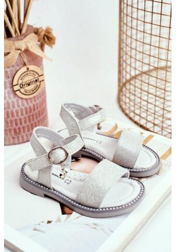 Trblietavé sandále na suchý zips pre dievčatá sivej farby