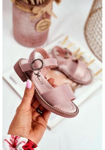 Ružové trblietavé sandále na suchý zips pre dievčatá