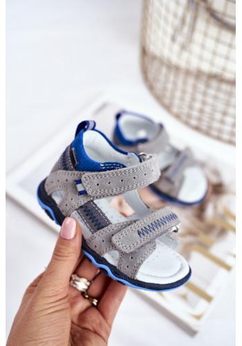 Sivo-modré profylaktické sandále pre chlapcov