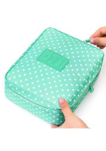 Dámska kozmetická taška s bodkovaným vzorom v mätovej farbe