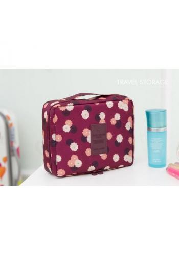 Bordová kozmetická taška pre dámy s kvetovaným motívom
