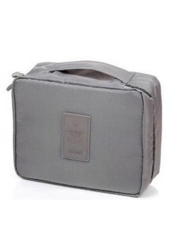 Unisex kozmetická taška s množstvom vreciek sivej farby