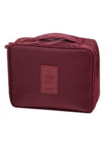 Unisex kozmetická taška s množstvom vreciek bordovej farby