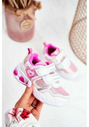Ružovo-biele svietiace tenisky na suchý zips pre dievčatá