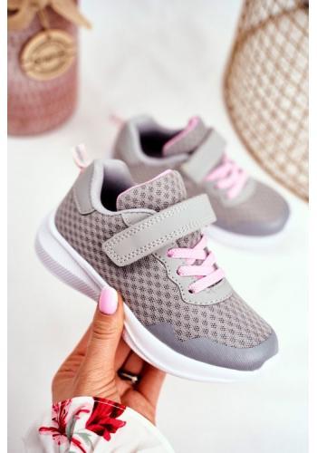 Sivé detské tenisky na suchý zips pre dievčatá