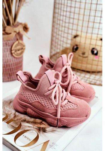 Ružové šnurovacie tenisky pre dievčatá