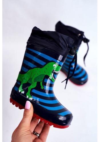 Pásikavé modré gumáky s dinosaurom pre chlapcov